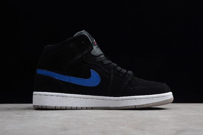 the latest 0d714 08c7f Air Jordan 1 Mid Multicolor Swoosh Black University Red-Blue Basketball  Shoes-5