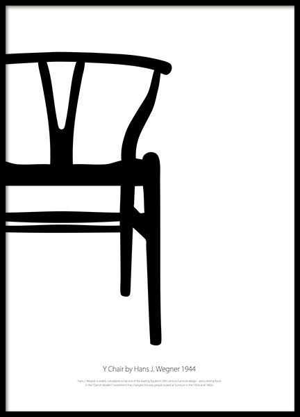 Furniture Design Poster y chair blackandwhite, posters | wishbone chair, online posters