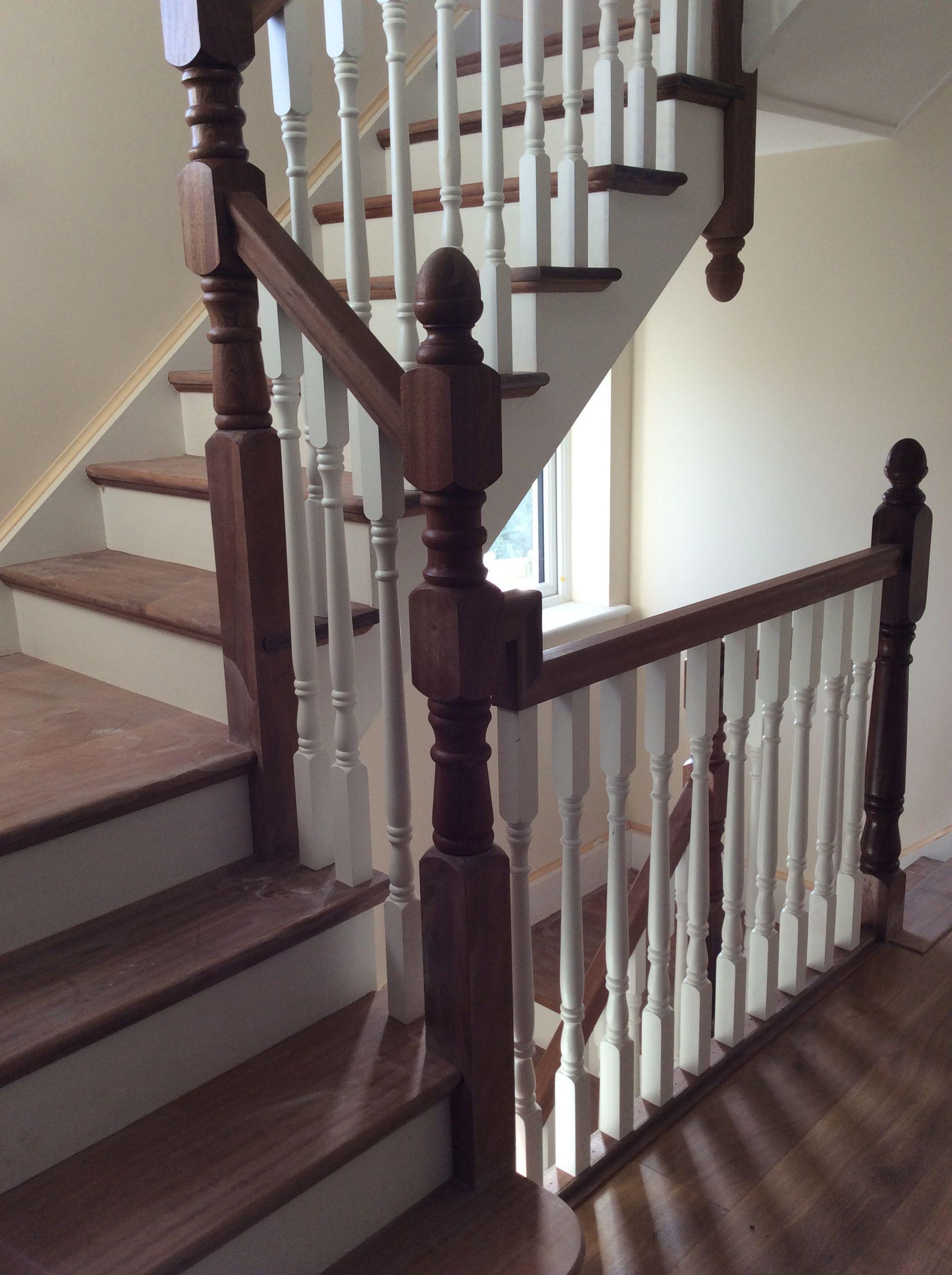 Mahogany cut string staircase