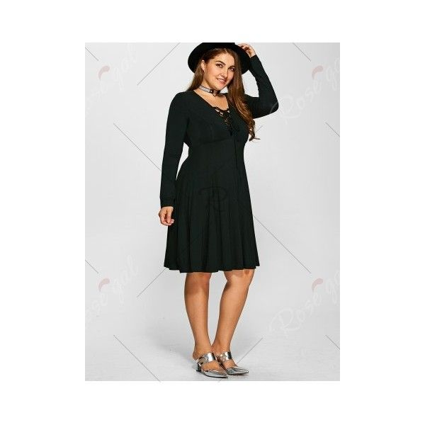 7ba4073ae Plus Size Lace-Up Empire Waist Dress (38 BAM) ❤ liked on Polyvore ...
