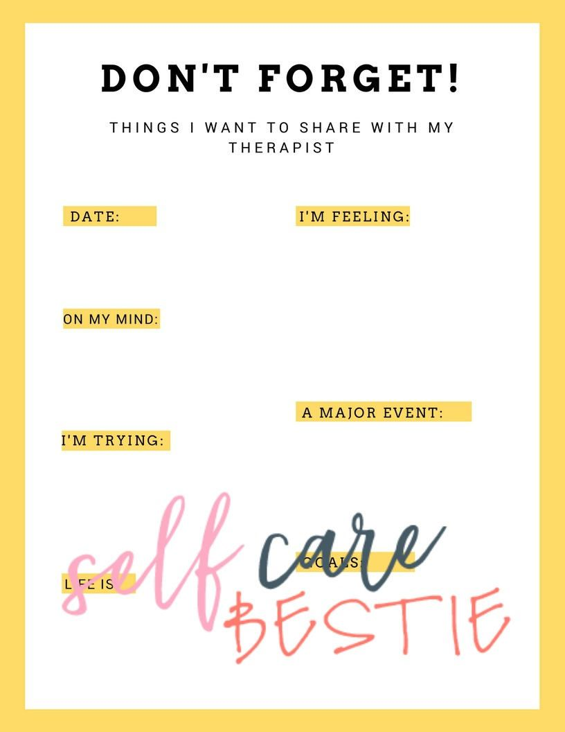 Things I Want to Share With My Therapist Worksheet