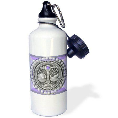 3dRose Zodiac Series Libra Metal Look Art, Sports Water Bottle, 21oz, White