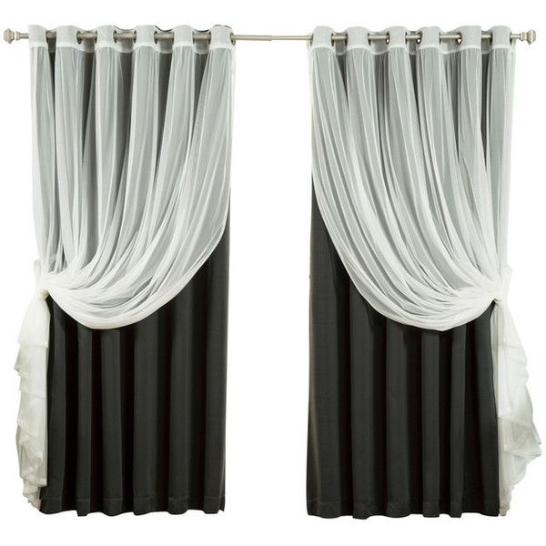 Tulle Sheer Lace And Blackout Curtain Set Black