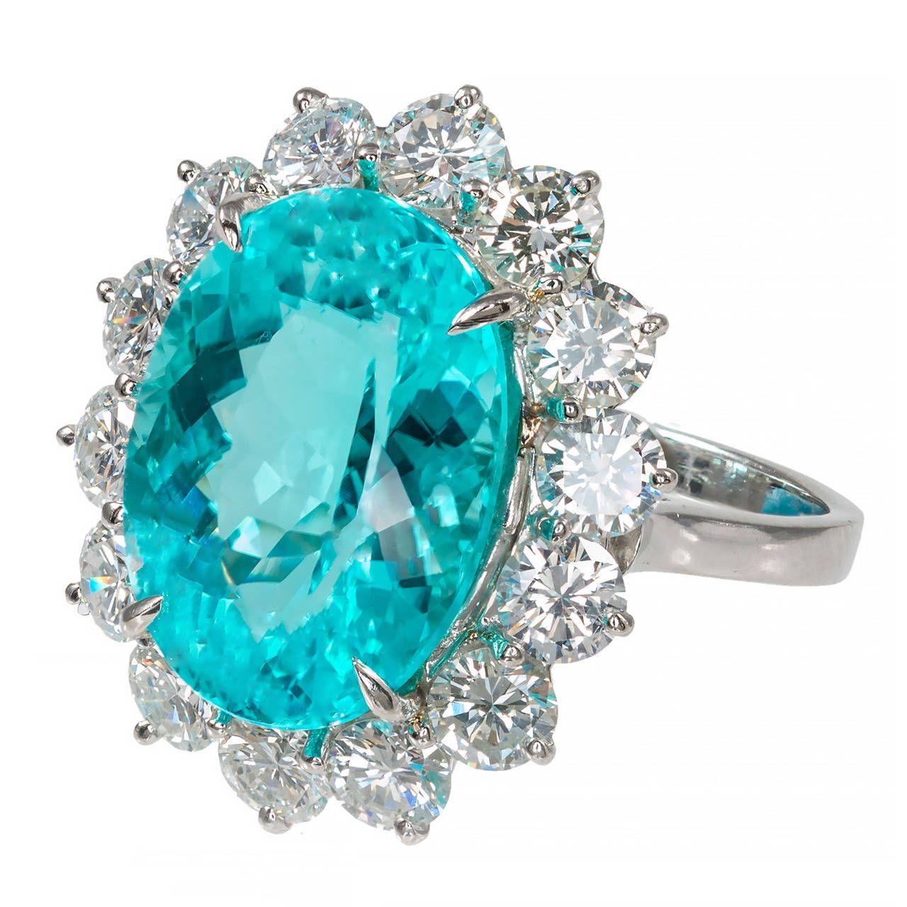 Blue Diamond Platinum: Blue Paraiba Tourmaline Diamond Platinum Ring