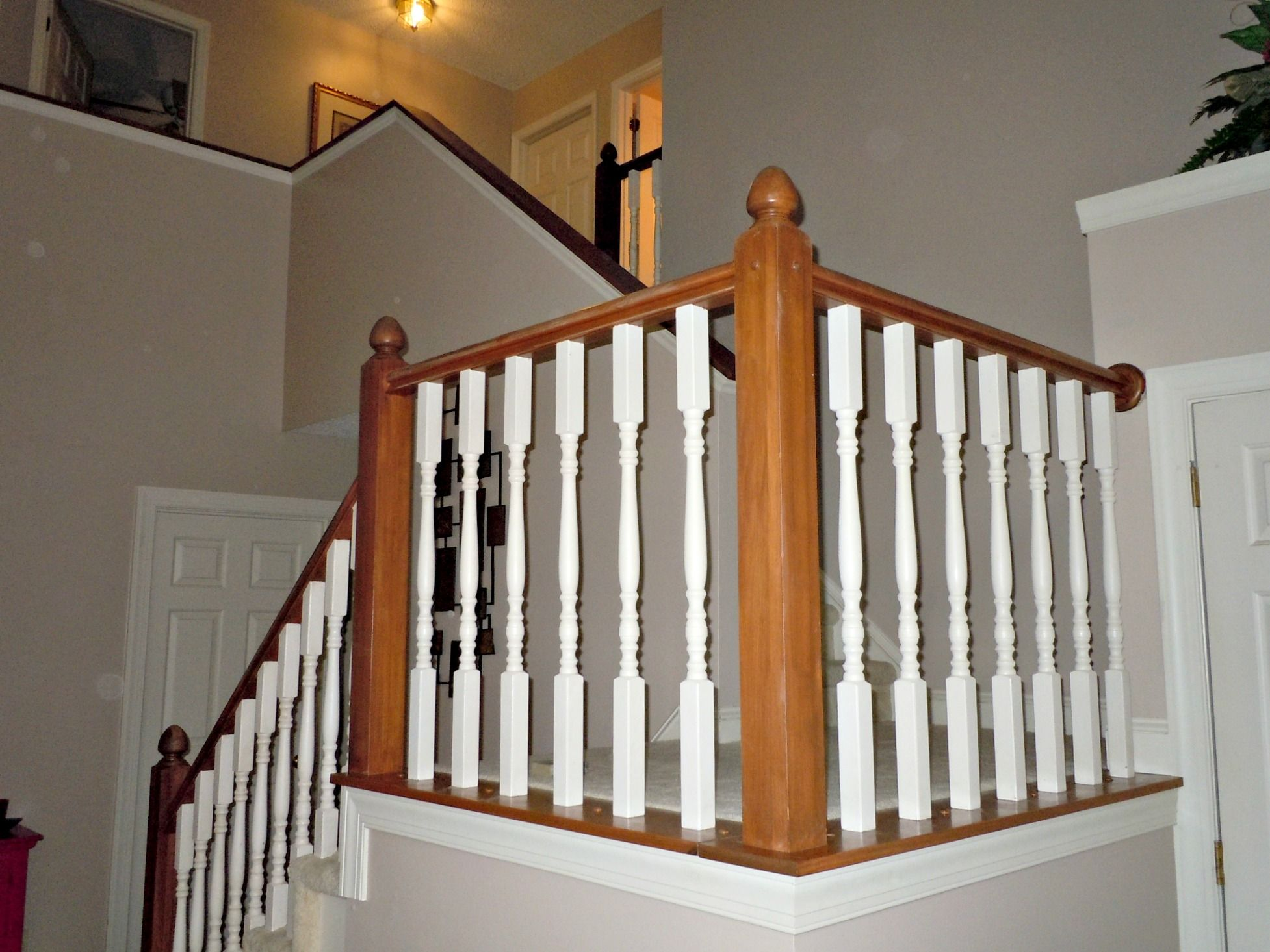 Best Builder Grade Oak Stair Railing Makeover Using Gel Stain Semi Domesticated Mama Featured On 400 x 300