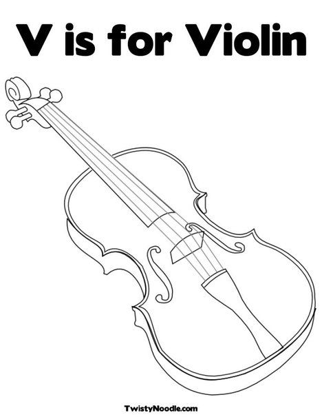 V Is For Violin Coloring Page From TwistyNoodle ALSO HAS OTHER LETTERS AT THE