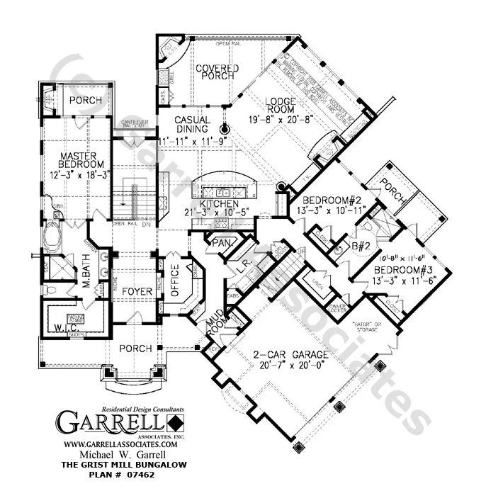 Grist mill bungalow house plan 07462 1st floor plan for Handicap accessible ranch house plans