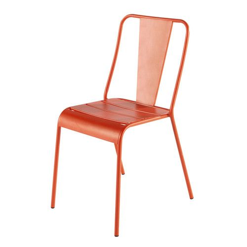 Chaise de jardin en m tal orange 40 euro outdoor for Chaise de jardin en metal