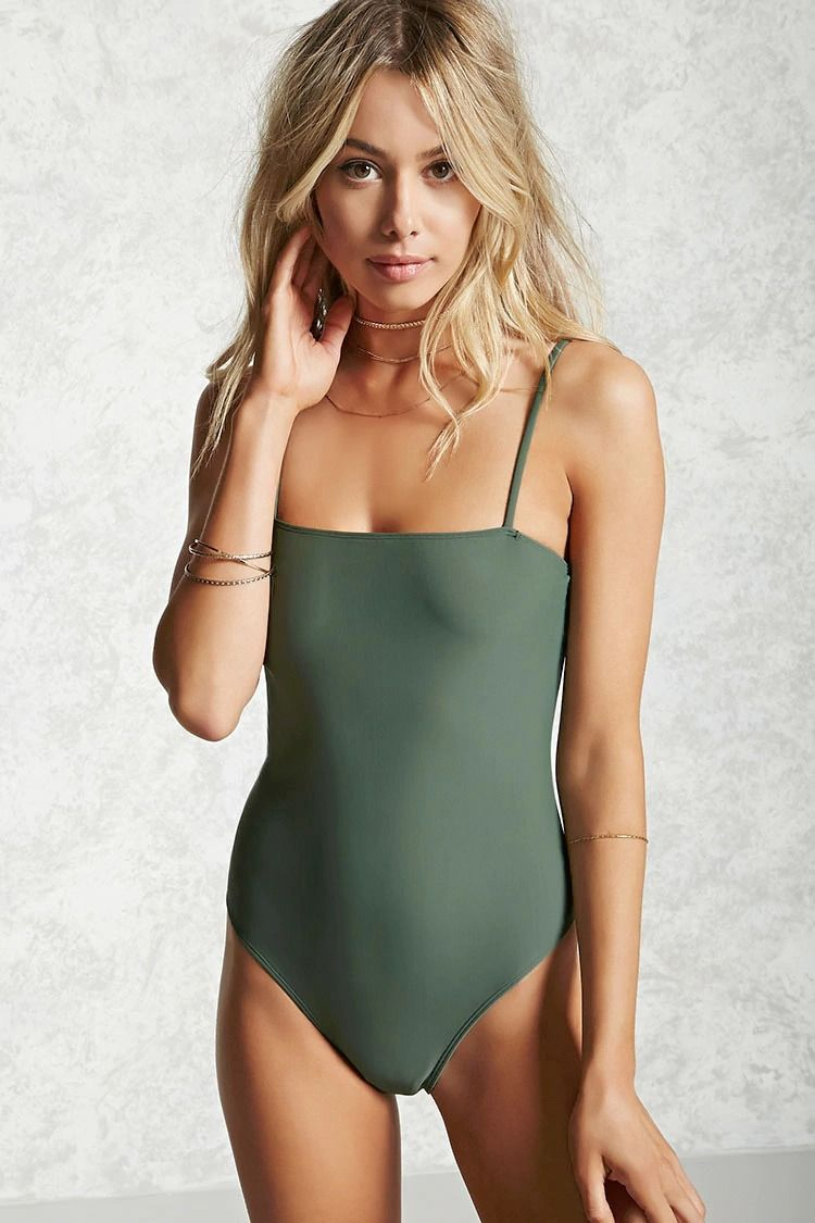 03887ad0358c3 Style Deals - A stretch-knit one-piece swimsuit featuring a square neckline  and cami straps.