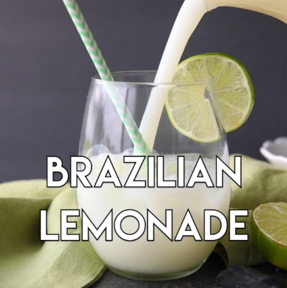 Brazilian Lemonade is actually a creamy limeade that is perfectly sweet and slightly tangy. The secret ingredient that makes it creamy will have you pouring glass after glass of this refreshing drink. Perfect for hot summer days, parties, and potlucks! #lemonadepunch