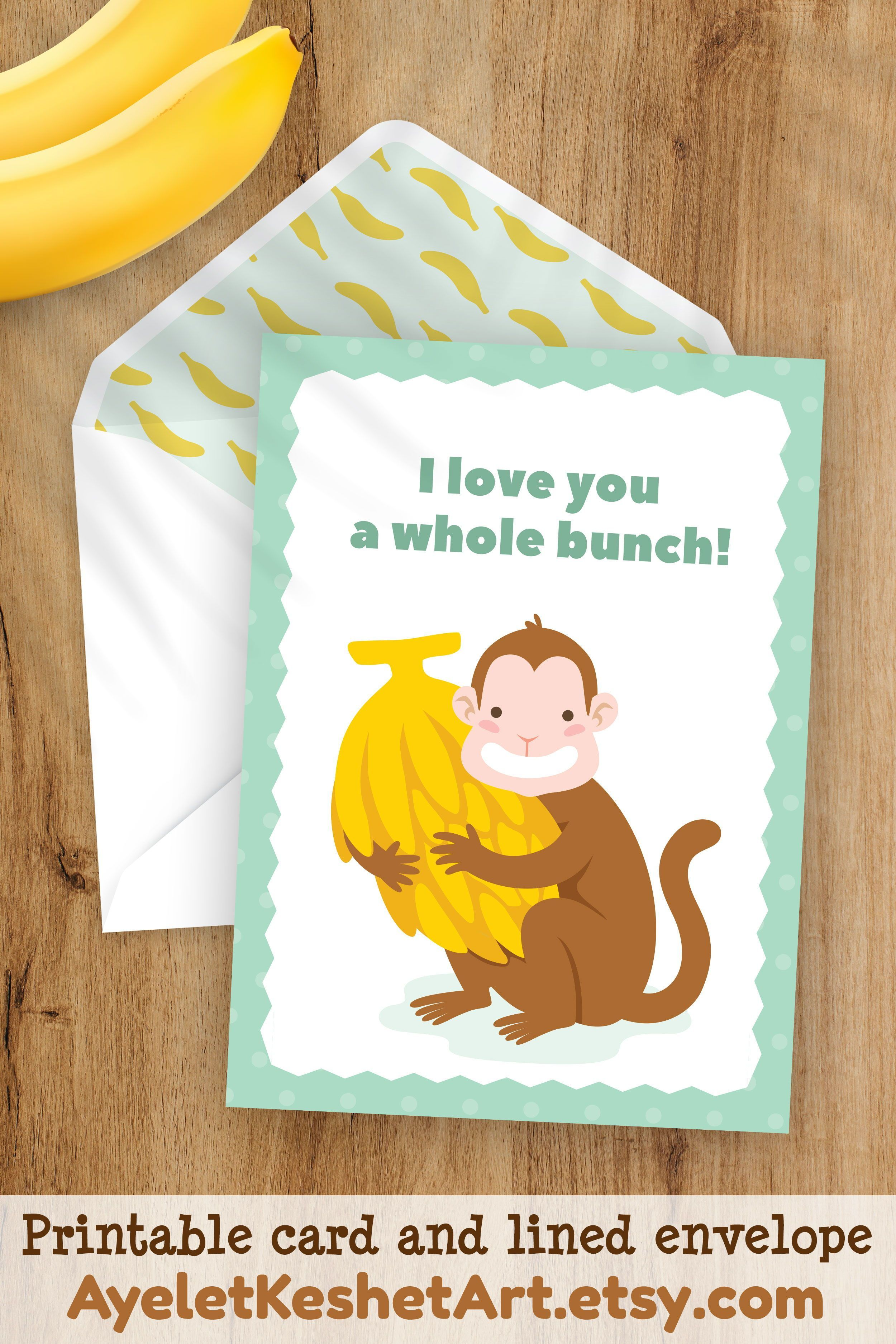 Printable Card Lined Envelope Valentine S Day Anniversary Card I Love You A Whole Bunch Greeting Card Digital Instant Download In 2021 Printable Cards Cards Anniversary Cards