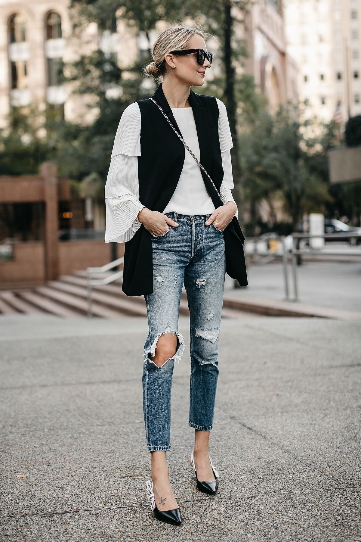 1e29590419acce Blonde Woman Wearing Long Black Vest White Pleat Sleeve Top Denim Ripped  Jeans Dior Slingbacks Fashion Jackson Dallas Blogger Fashion Blogger Street  Style