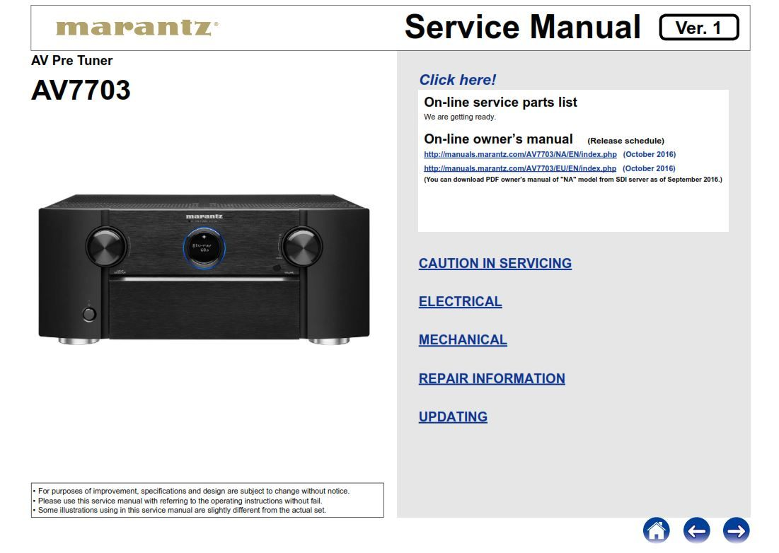 Marantz AV7703 11.2 Channel Full 4K Ultra HD A/V Pre-Amplifier original  service, repair and technical troubleshooting manual.