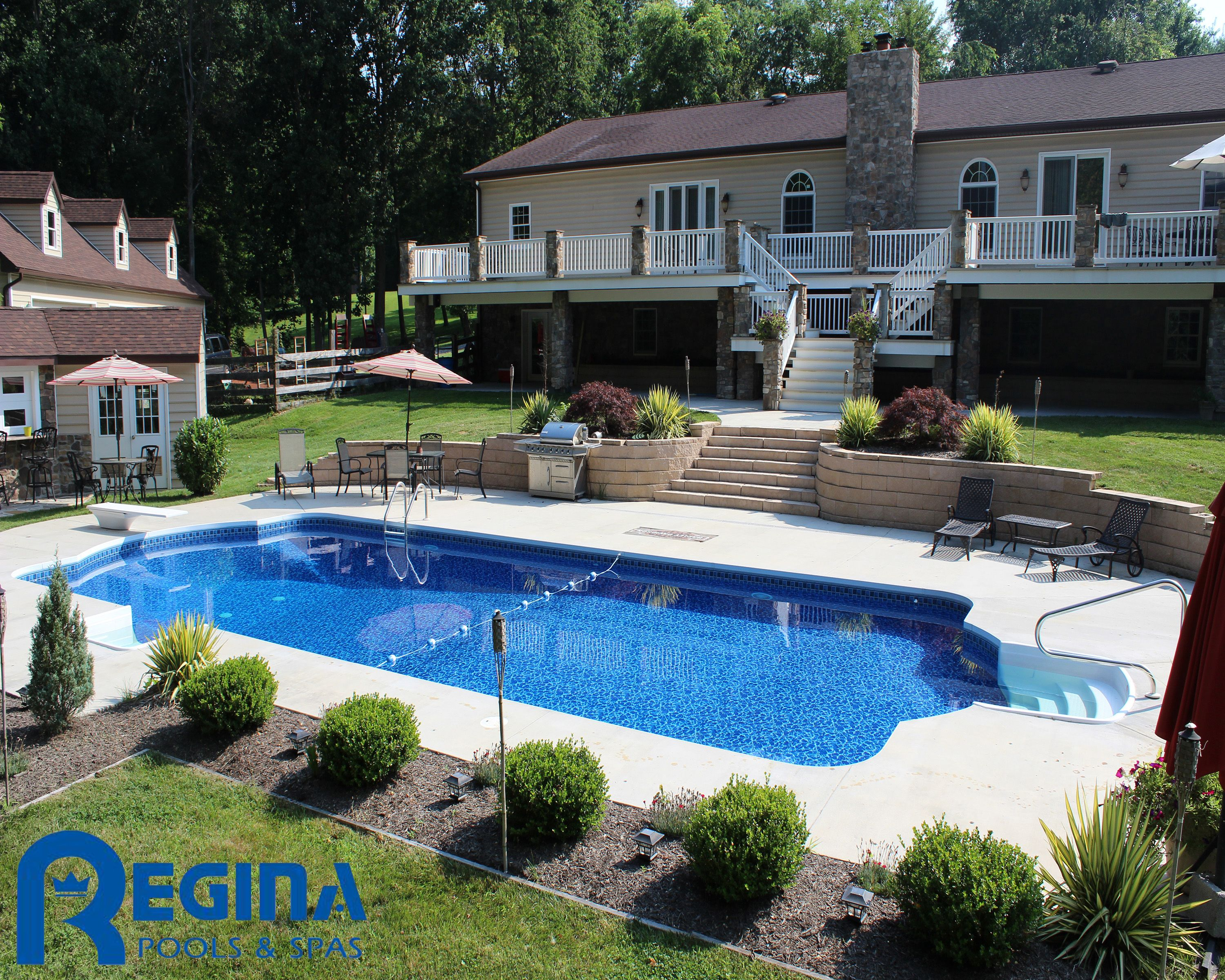 roman shaped vinyl liner swimming pool located in glen arm md baltimore county backyard