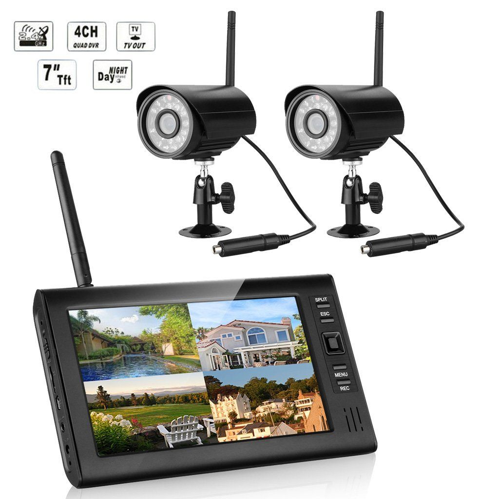 FLOUREON® Digital Wireless 4CH CCTV DVR Day Night Security Camera ...