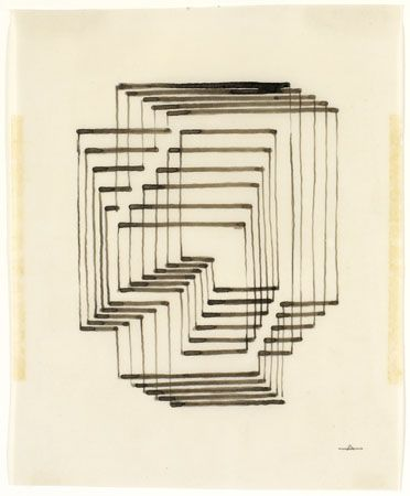 Josef Albers, Graphic Tectonic, 1942 (ca.) Ink on paper. JAAF: 1976.3.211.b