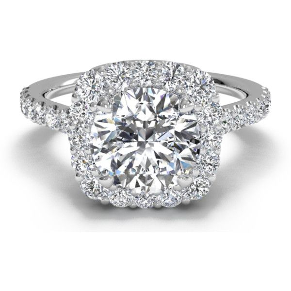Halo French-Set Diamond Band Engagement Ring in 18kt White Gold (0.45... ❤ liked on Polyvore