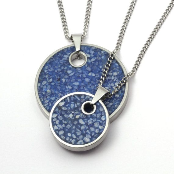 Large blue concrete pendant with necklace by NewAccent