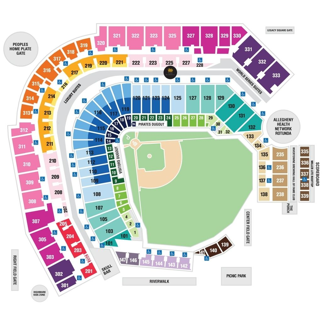 Detailed seating chart for pnc park scottrade center