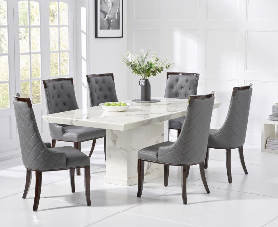 Como 160cms White Marble Dining Table And Four Aviva Grey Dining Chairs A Stylish Setting For An Dining Table Marble Gray Dining Chairs Marble Dining Table Set