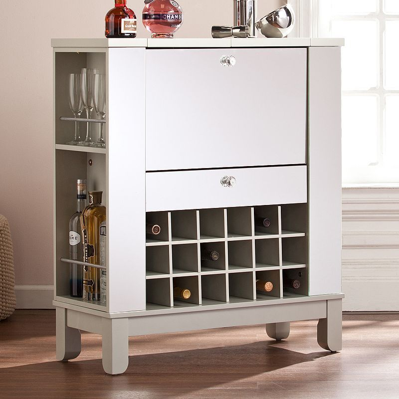 Mulvaney Mirrored Fold Out Bar Cabinet Wine Bar Cabinet Home Bar Furniture Home Bar Cabinet