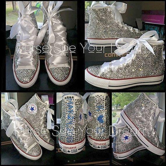 61d033834688f Swarovski Crystal Rhinestone High Top Converse Shoes - Wedding ...