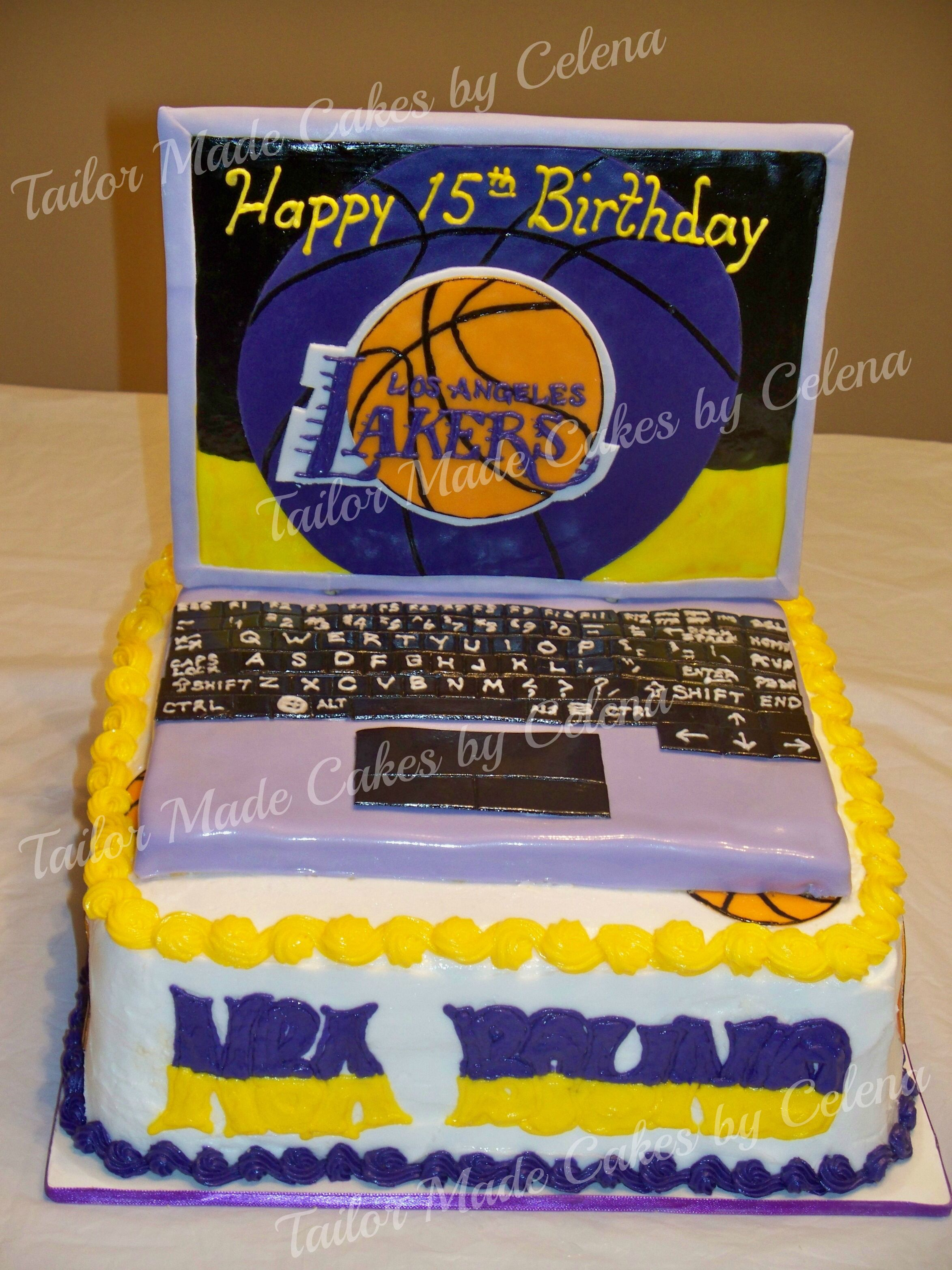Lakers/Laptop Cake!!!!! Get Yours At www.tailormadecakes
