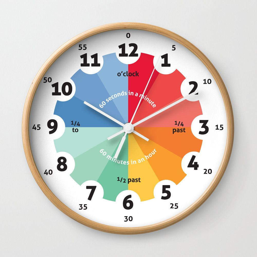 Learning Clock Gifts For Teachers Teaching Time Classroom Clocks Playroom Decor Nursery Decor Wall Clock By Classroom Clock Learning Clock Kids Wall Clock