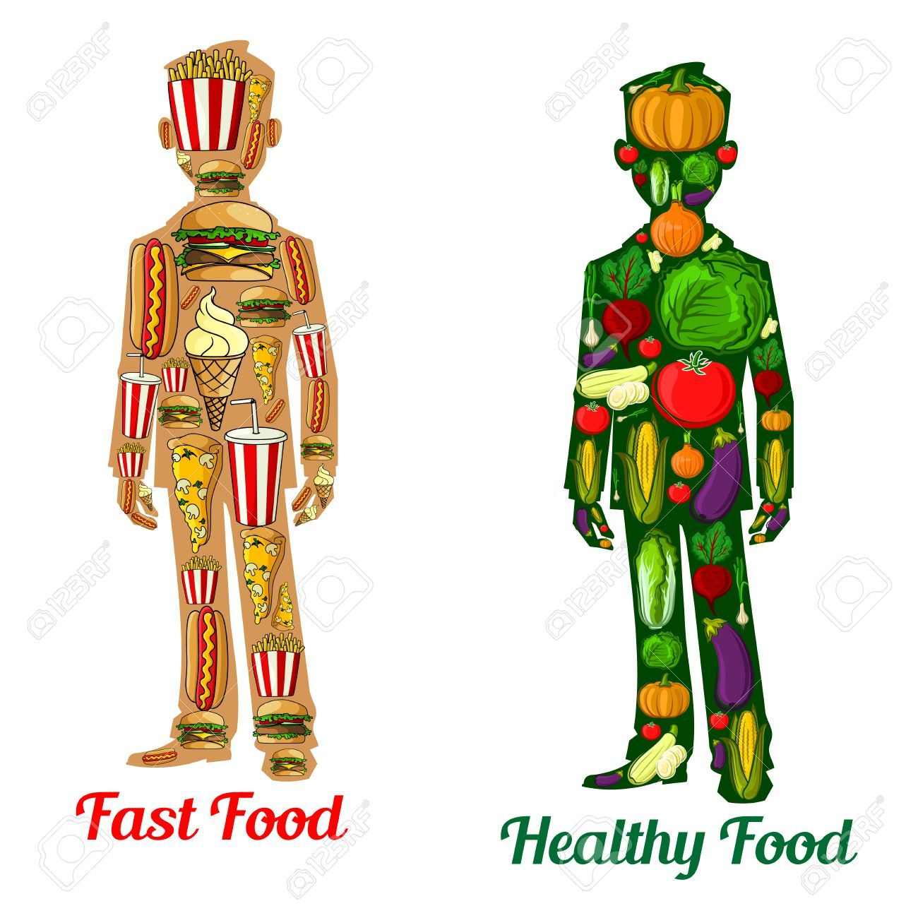 64899903 Healthy Diet Nutrition Vs Fast Food Human Body Icons With
