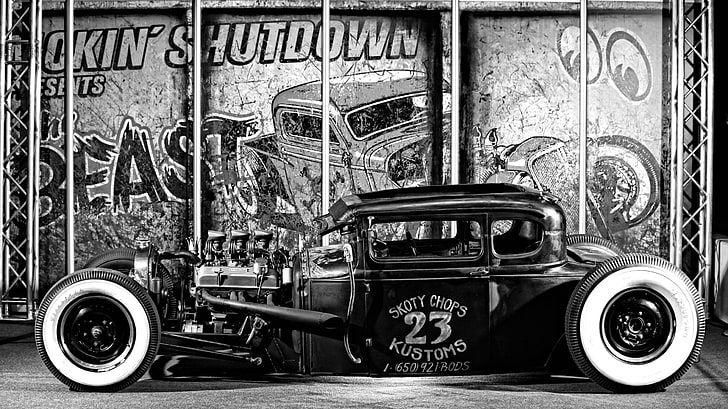 HD wallpaper: vintage vehicle, Hot Rod, monochrome, car, mode of transportation …