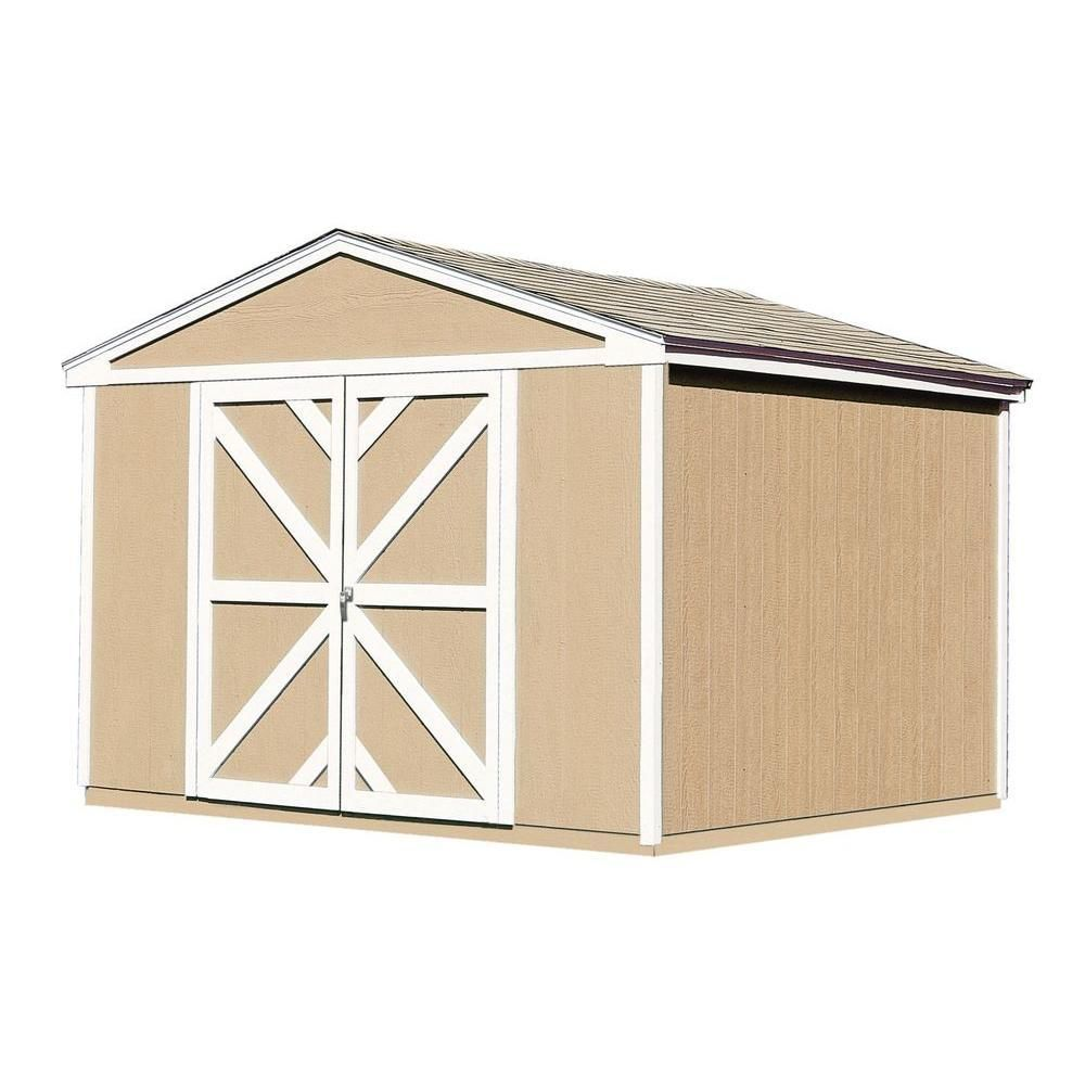 Handy Home Products Somerset 10 Ft X 8 Ft Wood Storage Building Kit With Floor 18502 1 The Home Depot Storage Building Kits Wooden Storage Sheds Shed Storage