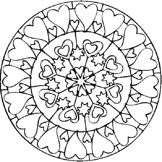 Valentines Day Mandala Coloring Pages