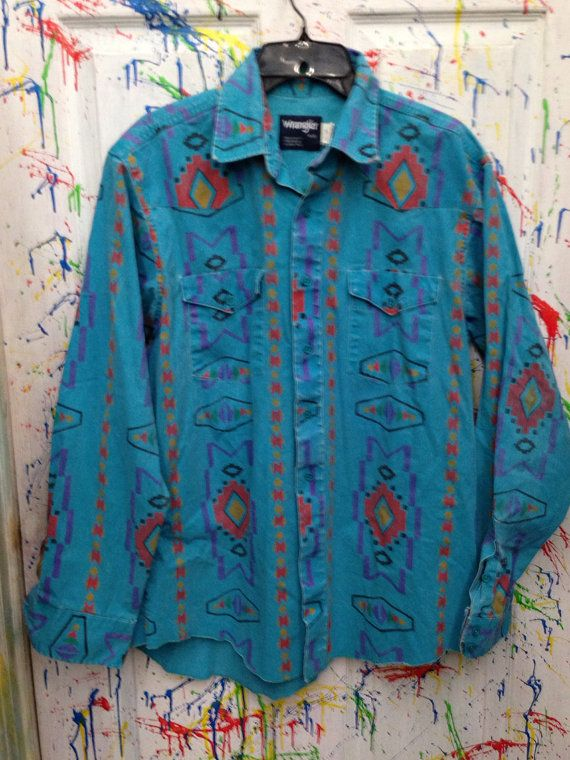 9c5b2589 Men's vintages button down cowboy shirt long sleeve size Large 16 light  blue navaho motif red yellow green purple black Wrangler USA by RagsAGoGo,  $25.00