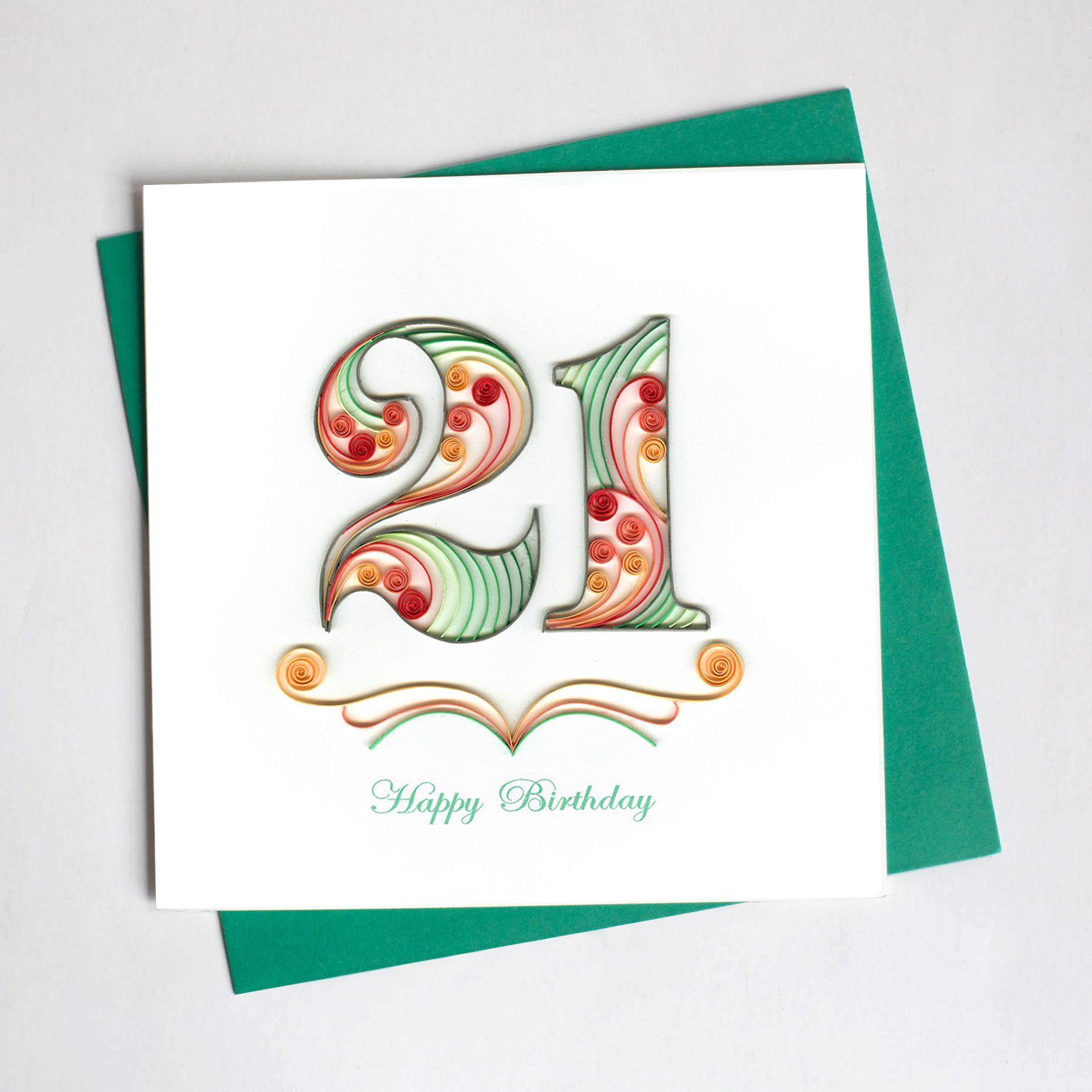 21st Birthday Bd101 Quilling Card 21st Birthday Cards Quilling Birthday Cards Quilling Cards