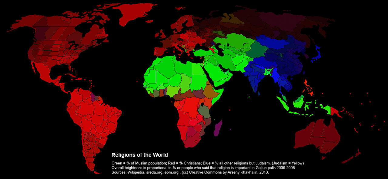 Distribution Of World Religions Map With Brightness Corresponding - Religion map of the world 2013