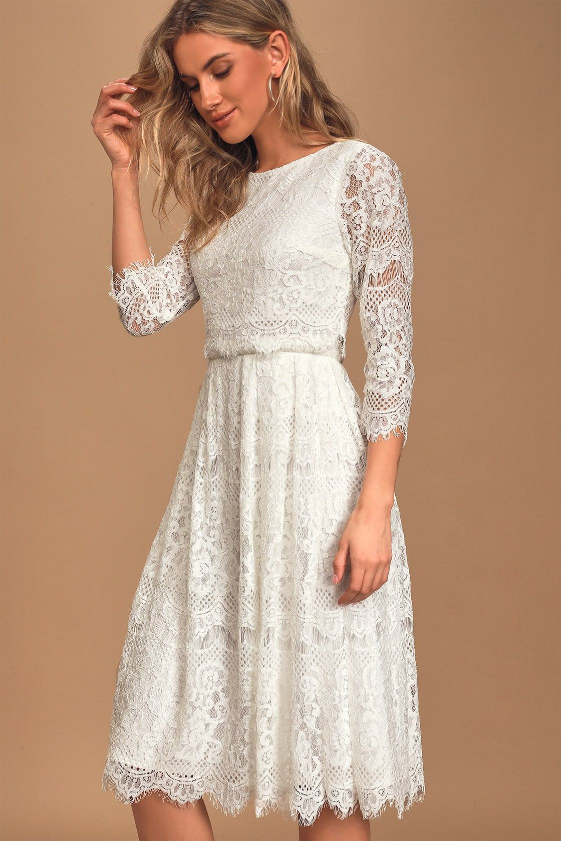 Forever Your Love White Lace Three Quarter Sleeve Midi Dress Midi Short Sleeve Dress White Lace Midi Dress Lace White Dress [ 1680 x 1120 Pixel ]