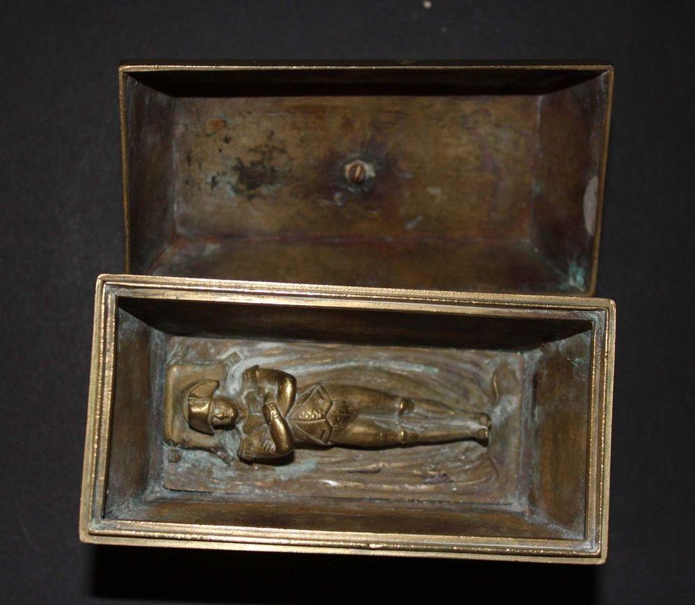Napoleon Sarcophagus French ANTIQUE BRONZE INKWELL EMPIRE Emperor RARE