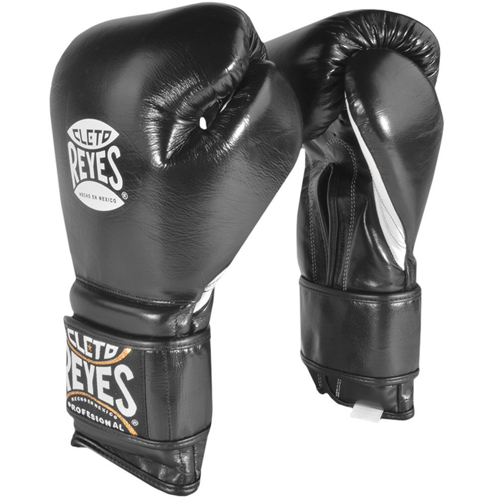 Cleto Reyes Leather Boxing Bag Gloves with Hook and Loop Closure Black
