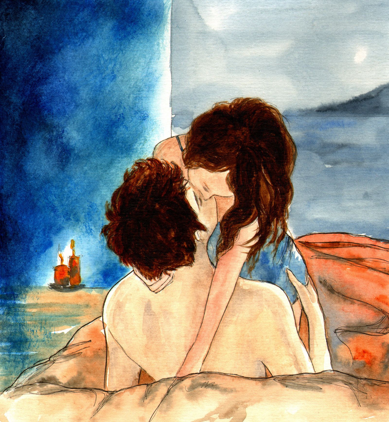 Blue Room Kiss by LittleSeaSparrow.deviantart.com on @DeviantArt