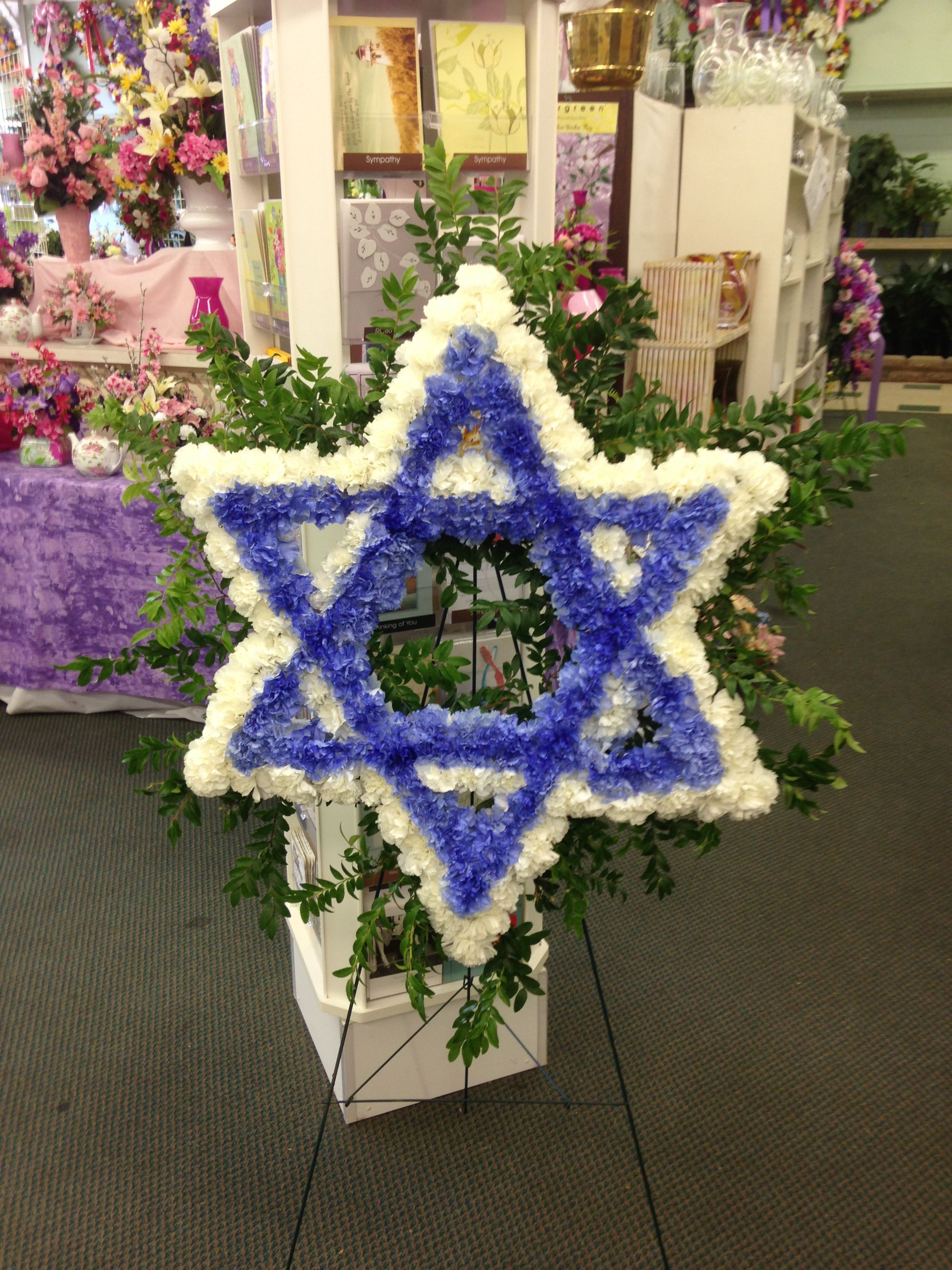 Star Of David Made Of Flowers Sympathy For Service Pinterest
