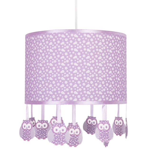 Girls Bedroom Modern Owl Purple Lilac U0026 White Ceiling Light Lamp Shade  Lampshade