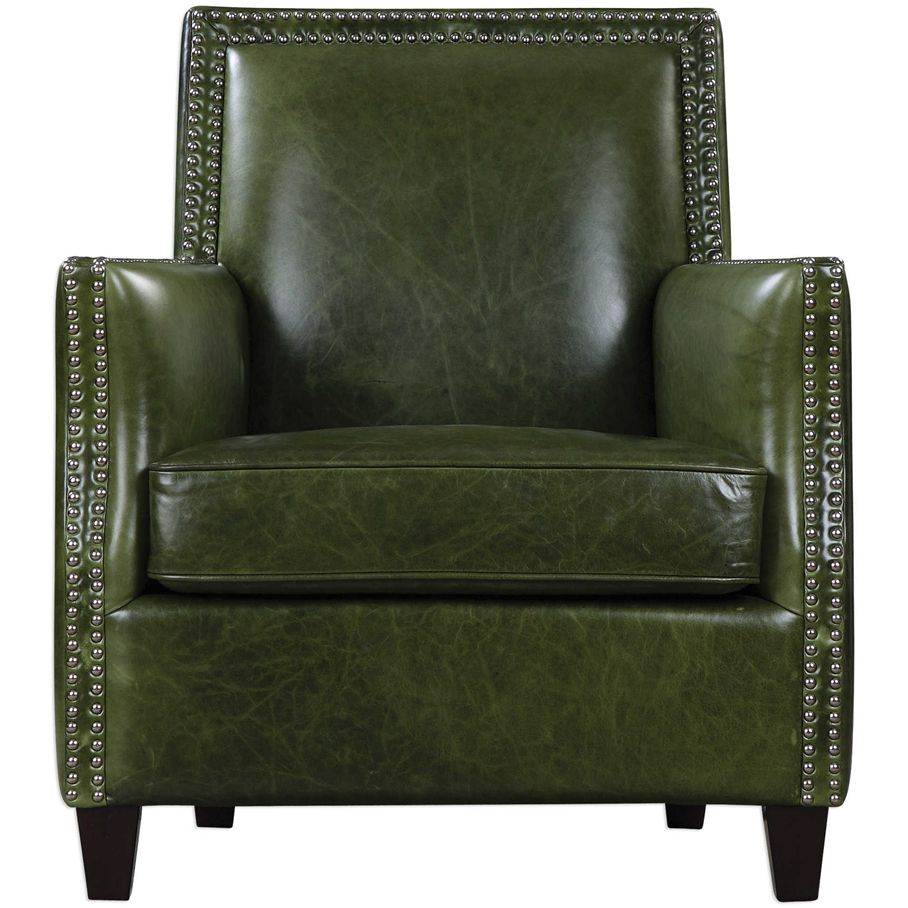 Good Green Leather Nail Studded Chair   Urban Chic