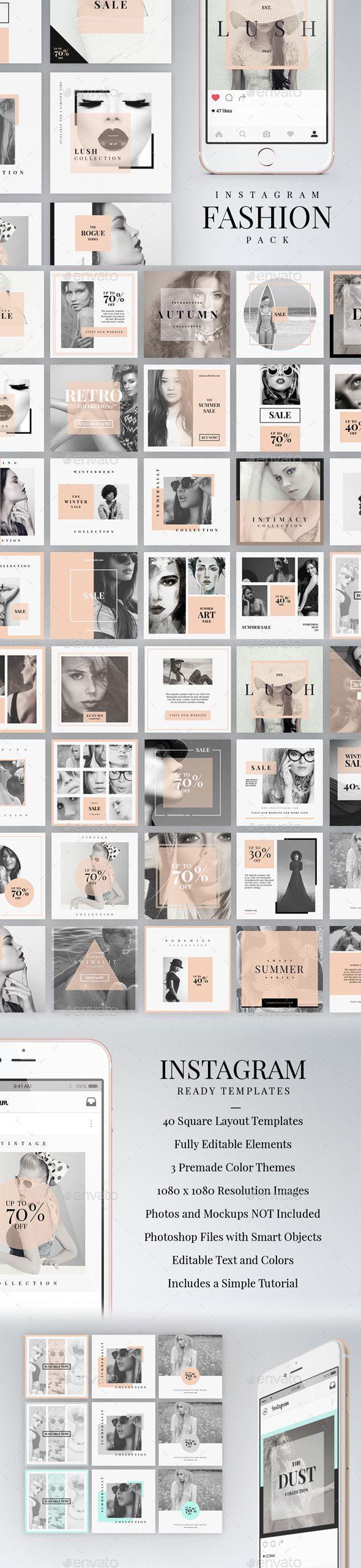 Instagram Fashion Pack Psd Template Etsy Social Media