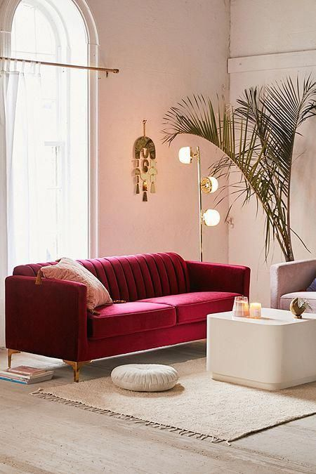 Marcella Velvet Sofa (With images)   Red couch living room ...
