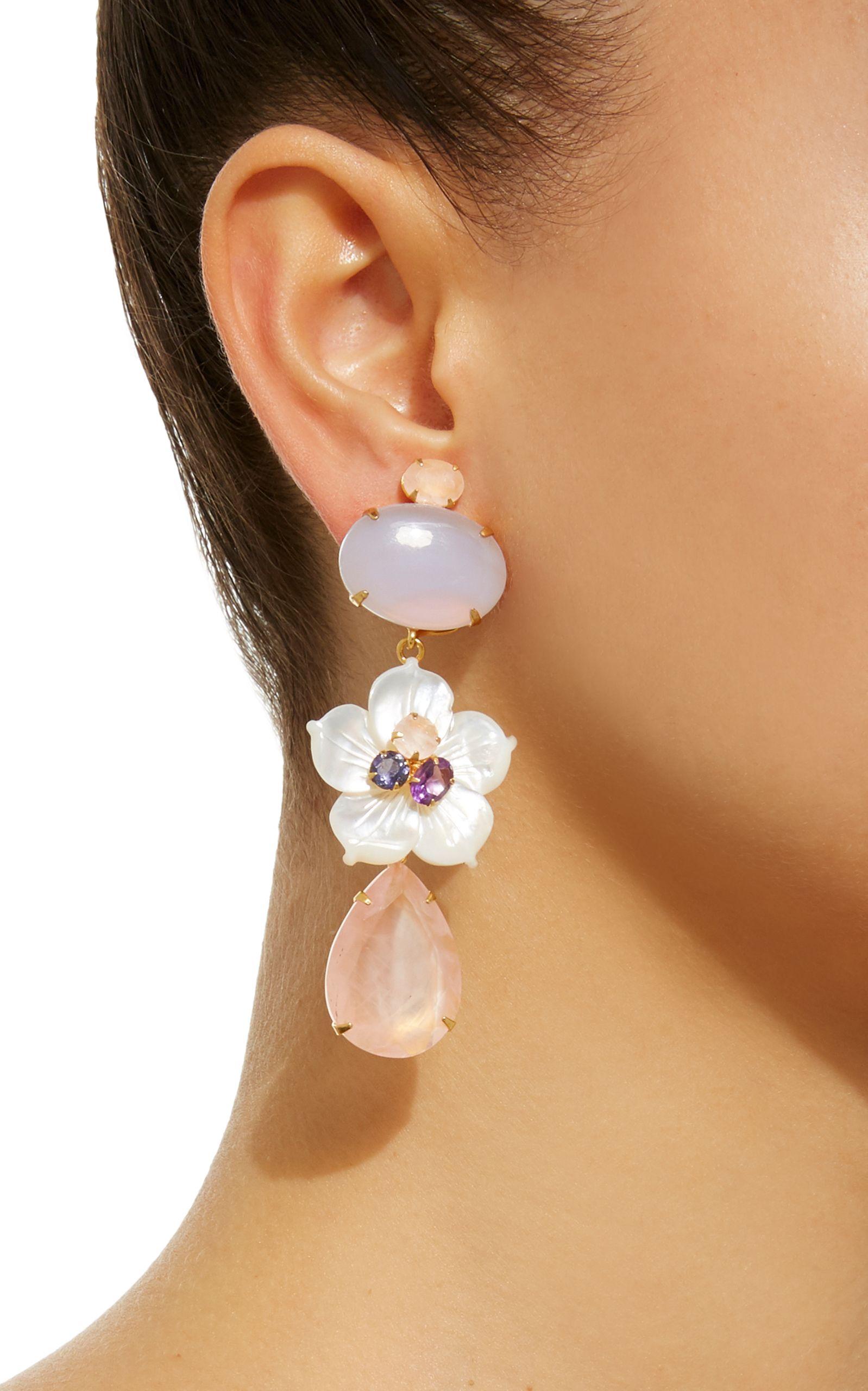 14K Gold-Plated Brass Chalcedony Mother of Pearl Amethyst Lolite Rose Quartz Earrings Bounkit ioeRRkoZ