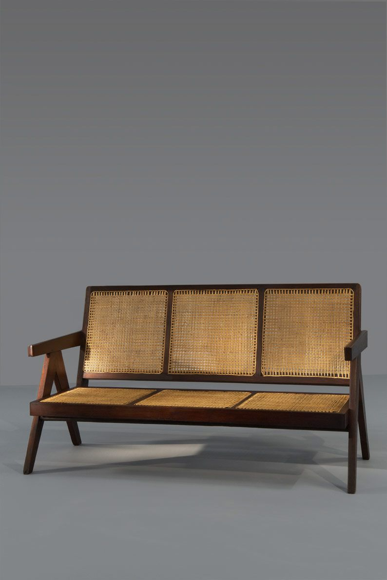 Pierre Jeanneret Palisander And Cane Sofa For Penjab Science Block Chandigarh 1965 Couched