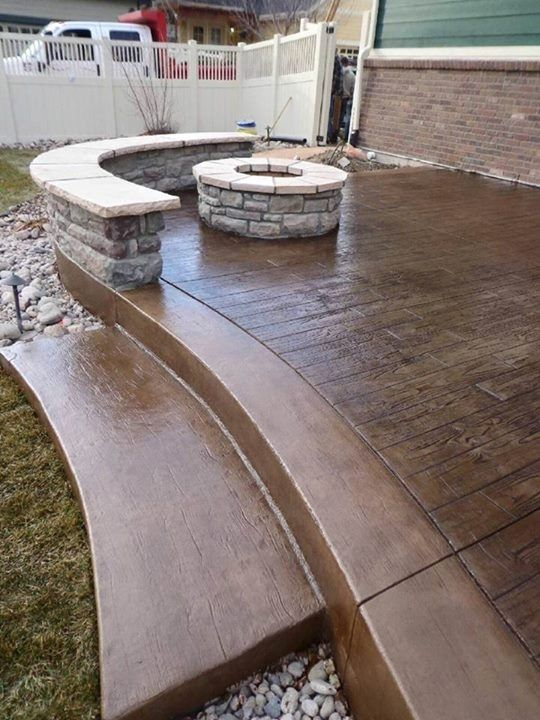 Stamped Concrete Bench Wall And Fire Pit Concrete Patio Designs Stamped Concrete Patio Concrete Patio