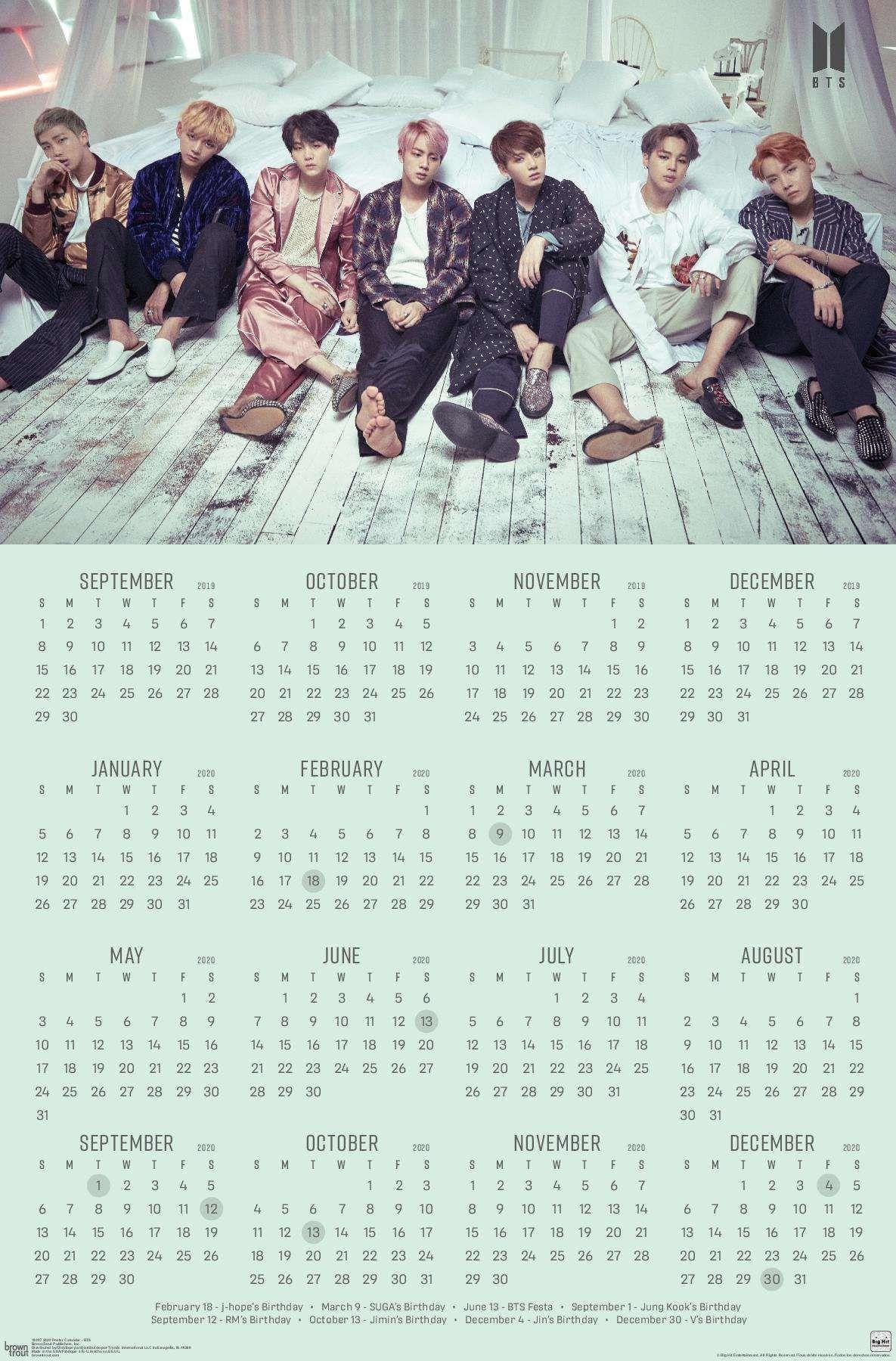 2020 Poster Calendar   BTS | Bts calendar, Foto bts, Calendar