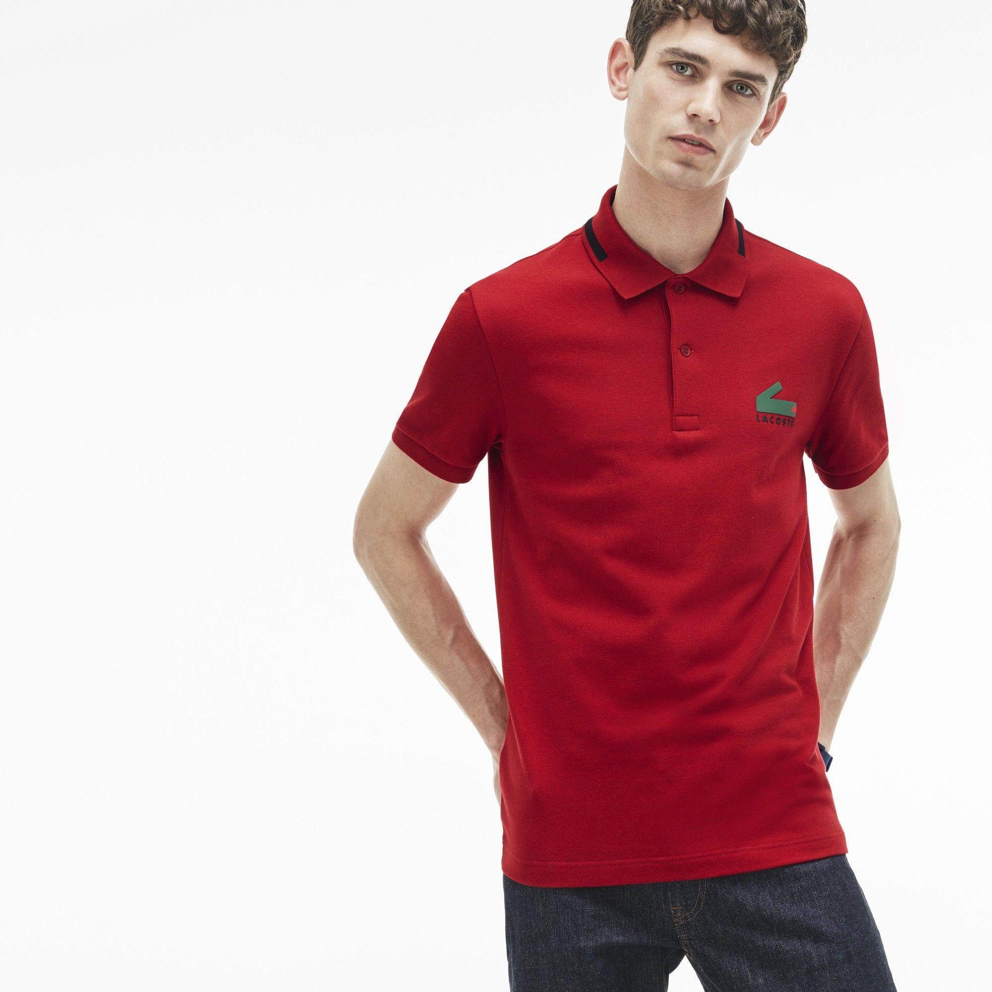 579c2e9b LACOSTE Men's Slim Fit Graphic Print Stretch Mini Piqué Polo ...