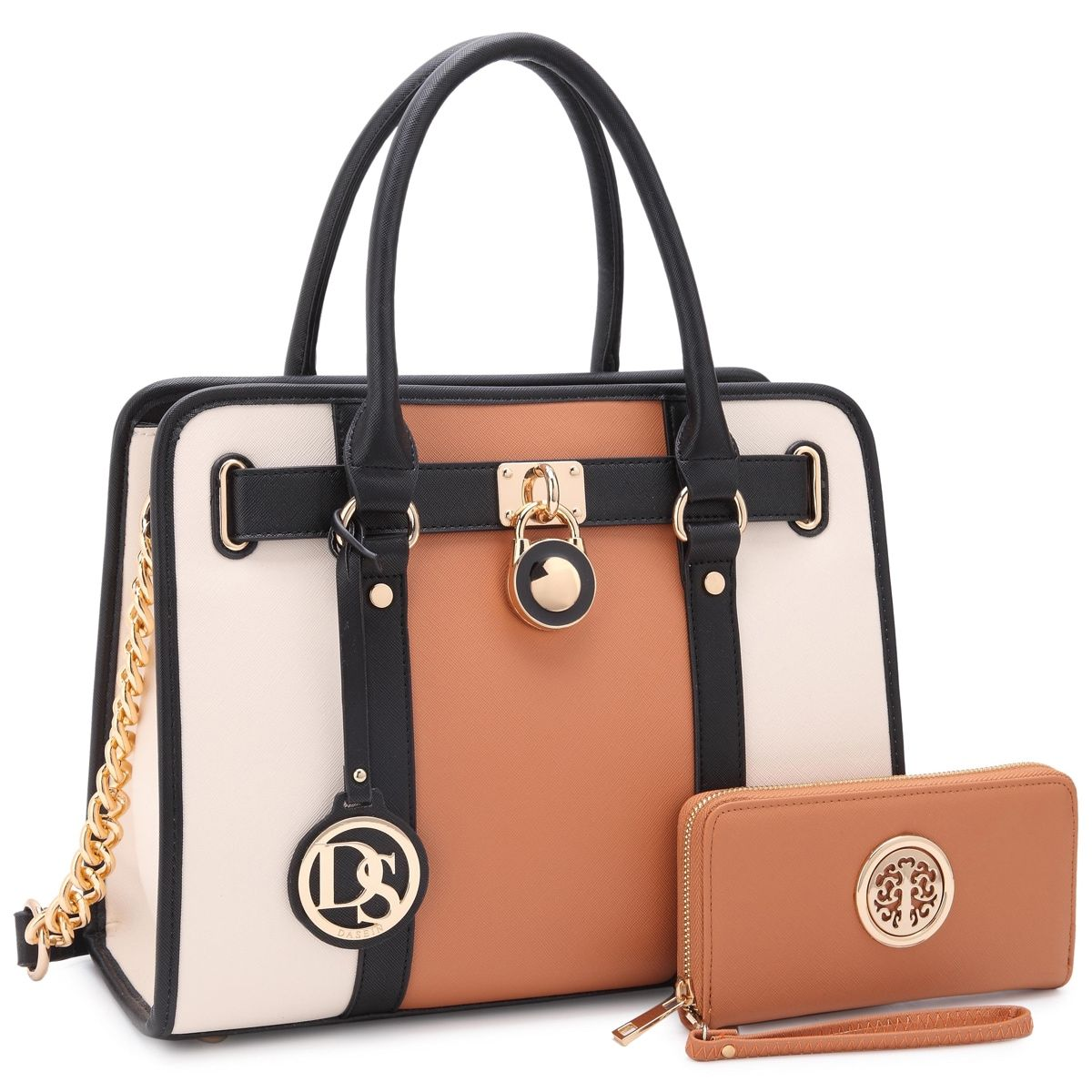 0672cc7e4fa Dasein Large Two-Tone Gold Chain Strap Satchel Handbag with Matching ...